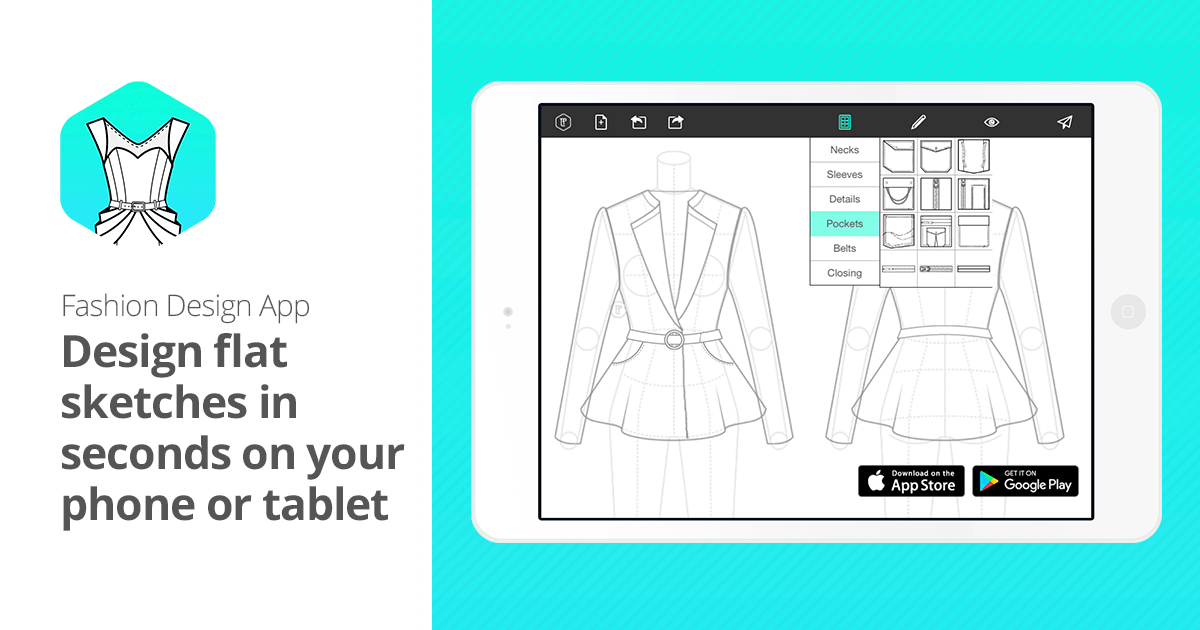 Fashion Design App Flat Sketches For Phone And Tablet